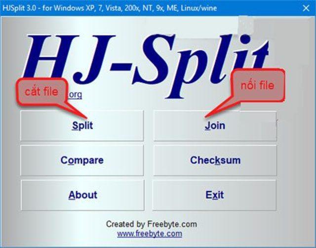 Hjsplit hỗ trợ cắt/ghép nối nhiều định dạng file