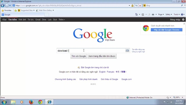 Tìm kiếm với từ khóa cài đặt Internet Explorer 11 trên google