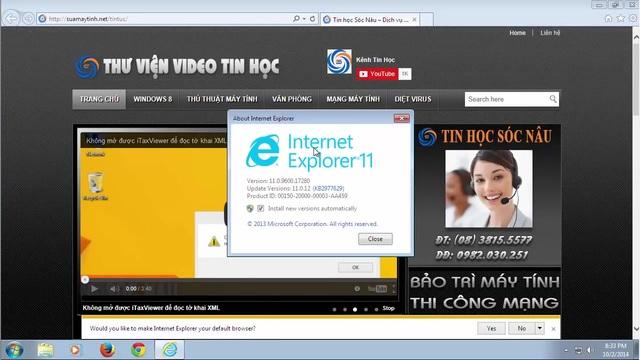 Toàn bộ quá trình download và cài đặt Internet Explorer 11 đã hoàn tất