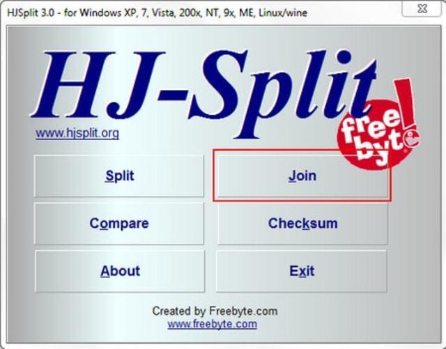 Trên giao diện của Hjsplit bạn chọn Joiner để ghép nối các file